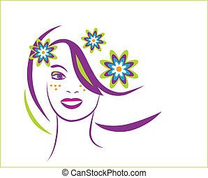 美しい女性, 若い, 定型, 肖像画, 花