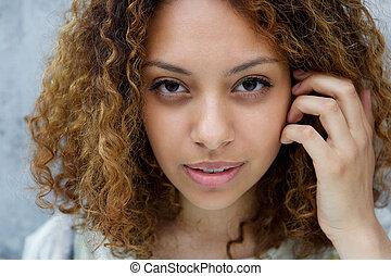美しい女性, 若い, 手, 毛, 黒