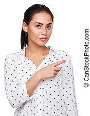 美しい女性, 若い, 指を 指すこと
