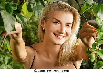 美しい女性, 若い, 森林
