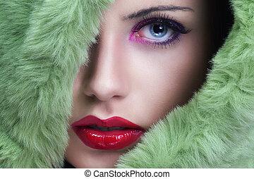 美しい女性, 若い, 緑, 肖像画, fur.