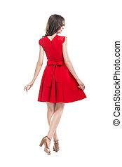 美しい女性, 若い, 背中, 服, 赤, 光景