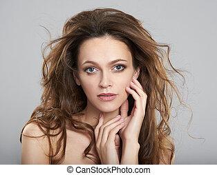 美しい女性, 若い, 長い髪, きれいにしなさい, 皮膚, 新たに