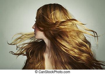 美しい女性, 若い, 長い髪, 流れること, 肖像画