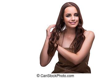 美しい女性, 若い, 隔離された, 毛, 白