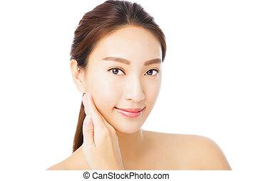 美しい女性, 若い, 隔離された, 顔, クローズアップ, アジア人, 白
