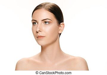 美しい女性, 若い, 隔離された, 顔, 成人, きれいにしなさい, 皮膚, 新たに, 白