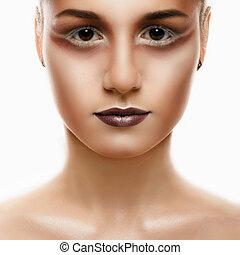 美しい女性, 若い, -, 隔離された, 顔, 成人, きれいにしなさい, 皮膚, 新たに, 白