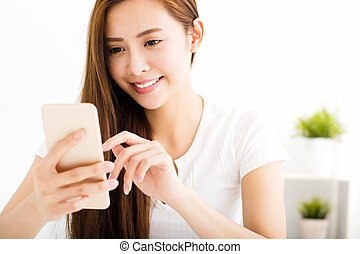 美しい女性, 若い, 電話メッセージ, 読書, 痛みなさい