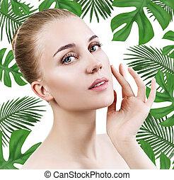 美しい女性, 若い, 顔, やし, 緑, leaves.