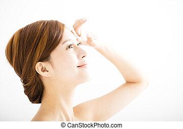 美しい女性, 若い, 顔, クローズアップ, アジア人