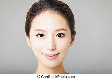美しい女性, 若い, 顔, クローズアップ, アジア人, 微笑