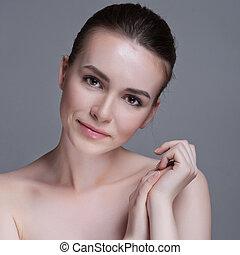 美しい女性, 若い, 顔, 成人, きれいにしなさい, 皮膚, 新たに
