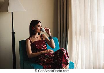 美しい女性, 若い, coffe, 飲むこと, home.