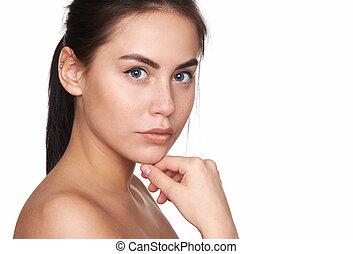 美しい女性, 若い, piercings, きれいにしなさい, 皮膚