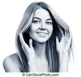 美しい女性, 若い, skin., きれいにしなさい, 微笑
