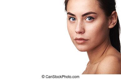 美しい女性, 若い, skin., きれいにしなさい, 新たに