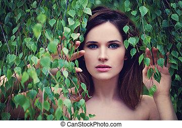 美しい女性, 葉, 顔, クローズアップ, 緑, outdoors.