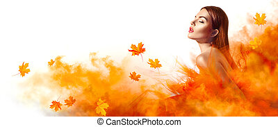 美しい女性, 葉, 黄色, 秋, ファッション, ポーズを取る, スタジオ, 落ちる, 服