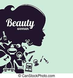 美しい女性, 買い物, アイコン, silhouette., ファッション, セット
