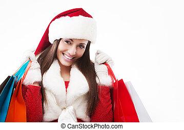 美しい女性, 買い物, クリスマス