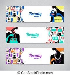 美しい女性, 買い物, icons., ファッション意匠, テンプレート, カード, 流行, 旗, シルエット