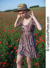 美しい女性, 農夫, コレクション, フィールド, 花, 赤