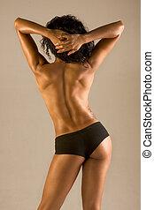 美しい女性, 運動, トップレスで, 筋肉の体格