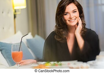 美しい女性, 部屋, ホテル, 朝食, 持つこと