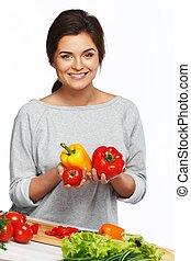 美しい女性, 野菜, 若い, 保有物, 新たに