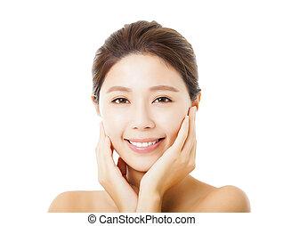 美しい女性, 隔離された, 若い, 顔, アジア人, 白
