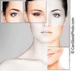 美しい女性, 顔, エステ, 健康, concept), (plastic, 若い, 手術, 薬, 肖像画, 化粧品