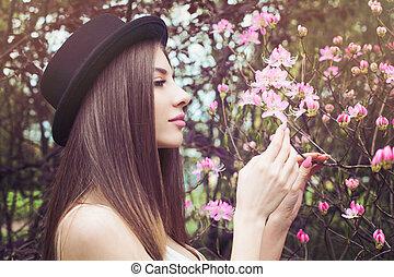 美しい女性, 顔, 春, ゆとり, 健康, profile., 女性, 皮膚, 花