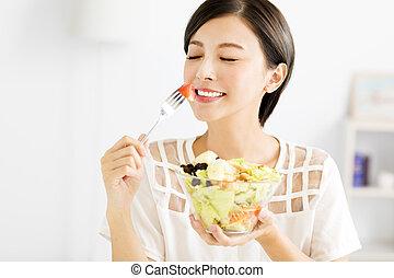 美しい女性, 食べること, 健康, 若い, 食物