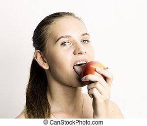 美しい女性, 食べること, apple., -, 若い, 健康, 概念, 食物, 歯, 強い