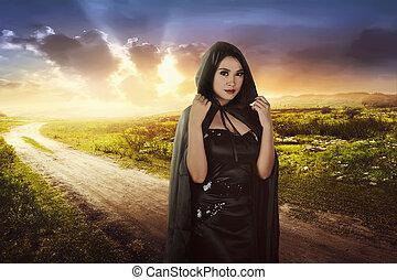 美しい女性, 黒, アジア人, 魔女, フード