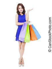 美しい女性, bags., 若い, 隔離された, 買い物, 白