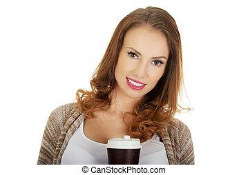 美しい女性, coffee., カップ