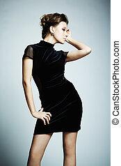 美しい女性, d, 若い, 優雅である, ファッション, 黒, 肖像画
