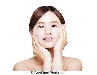美しい女性, expression., の上, 若い, アジア人, 終わり, 微笑