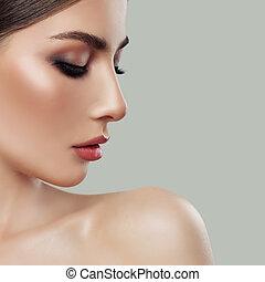 美しい女性, face., プロフィール, クローズアップ, 女性, 肖像画