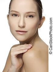 美しい女性, face., 若い, きれいにしなさい, 皮膚