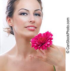 美しい女性, flower., 若い, 肖像画, エステ, gerbera, 赤
