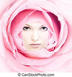 美しい女性, flower., 顔
