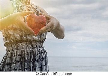 美しい女性, heart., アジア人, 保有物