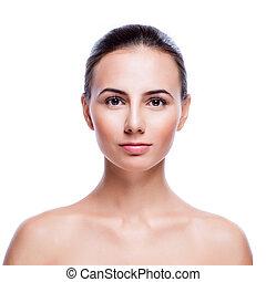 美しい女性, -, isol, 若い 大人, きれいにしなさい, 皮膚, 新鮮な表面