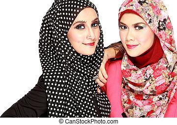 美しい女性, muslim, 2, 楽しみ, 肖像画, 持つこと
