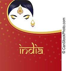 美しい女性, saree., ヒンズー教信徒, indian, 背景, 女の子