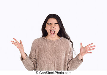 美しい女性, screaming., 若い