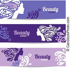 美しい女性, silhouette., デザイン, テンプレート, カード, 流行, 旗